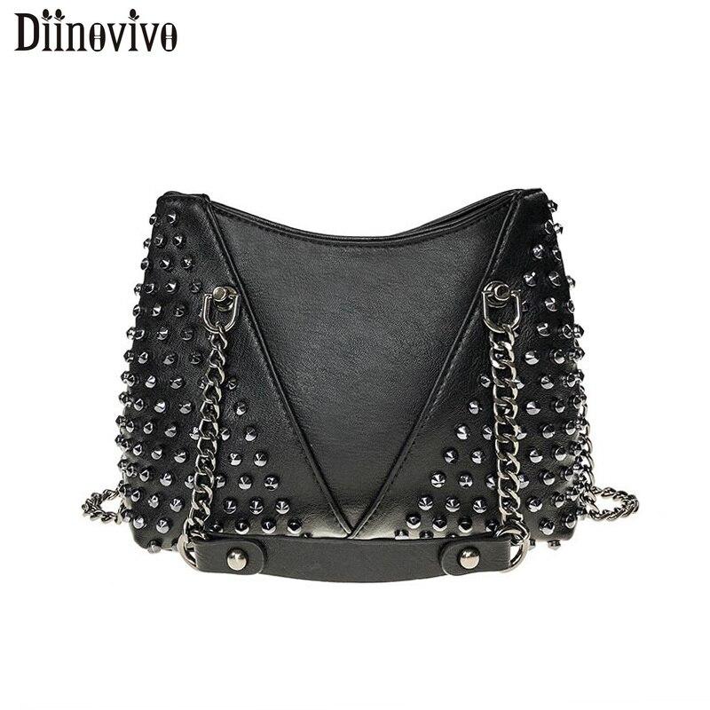 DIINOVIVO Rock Rivet Shoulder Bag Female Small Bags For Women Handbags Punk Handbag Leather Women Messenger Bags Purses WHDV1214Shoulder Bags   -