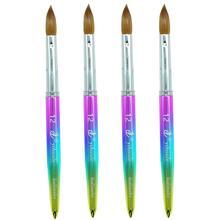 цена на Eval Rainbow 100% Kolinsky Sable Hair Brush Metal Handle Acrylic Nail Brush UV GEL Nail Art Tool for Acrylic Manicure Powder