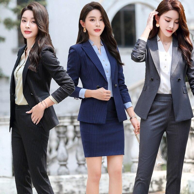Female Elegant Business Uniform 2 Piece Pant Suits for Ladies Women's Business Office Work Wear Blazers Trouser Sets Gray Stripe