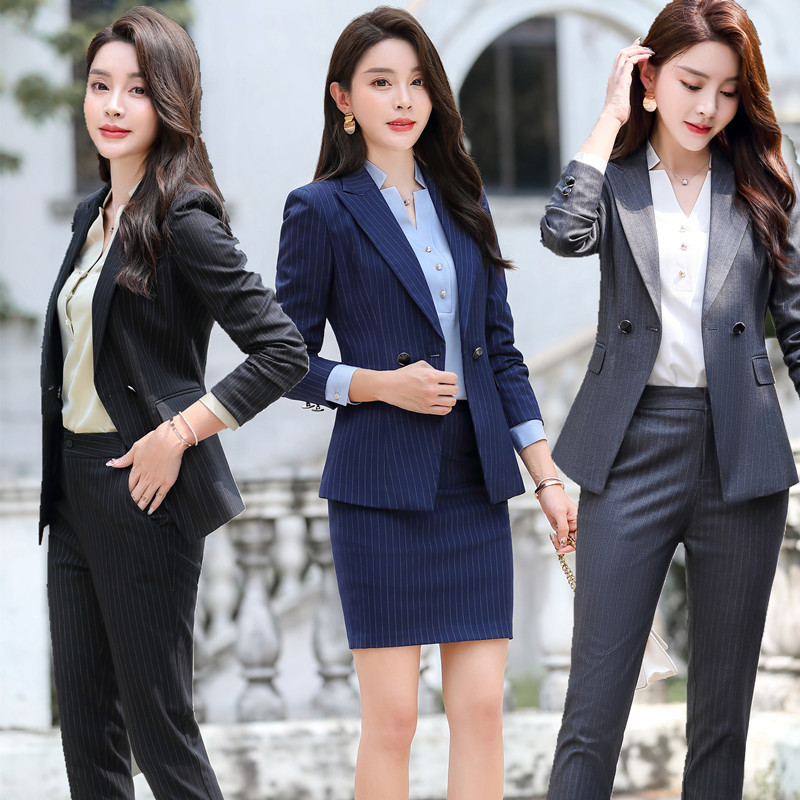 Wanita Elegan Bisnis Seragam 2 Buah Celana Cocok Untuk Wanita Wanita Kantor Bisnis Pakaian Kerja Blazer Celana Set Abu Abu Garis Celana Sesuai Dengan Aliexpress