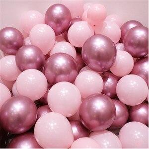 12pcs/lot Pink Latex Balloon Chrome Gold Silver Gold Chrome Metallic Wedding Bridal Shower Theme Party Air Helium Decor Balloons(China)