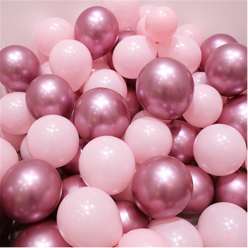 12pcs/lot Pink Latex Balloon Chrome Red Hot Pink Silver Metal Balloon Baby Shower Birthday Party Wedding Decorations Air Globos