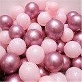 12 шт./лот розовый латексных воздушных шаров с хром, красного и розового цвета; Серебряных металлических воздушных шаров детских праздновани...