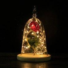 Dropshipping korunmuş gül çiçek güzellik ve Beast kırmızı gül cam kubbe ahşap taban LED ışık ev dekorasyonu ile