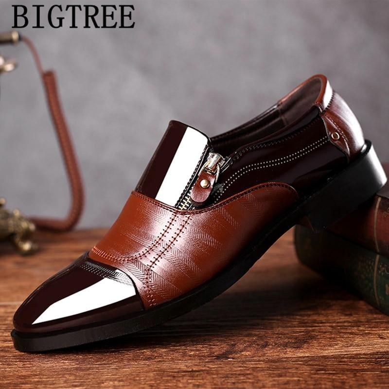 Zapatos italianos de charol marrón para hombre, calzado de vestir sin cordones, formales, Oxford