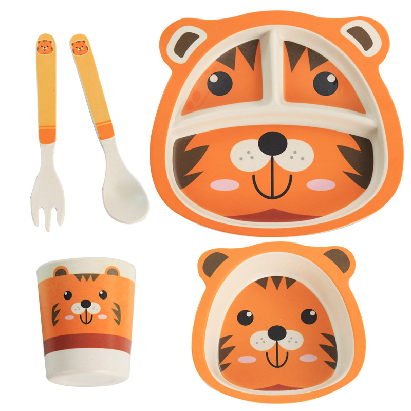Bamboo Baby Dish Training Tableware Set Children Cartoon Feeding Food Dishes Kids Dinnerware With Bowl Cup Spoon Fork Plate 5PCS