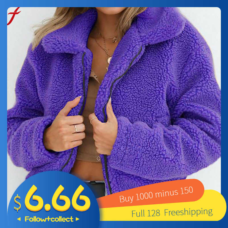 Feitong fashion fur coat women Ladies Warm Artificial Wool Coat Zipper Jackets Winter Parka Outerwear faux fur coat jackets