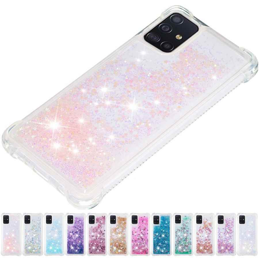 Anti-Val Effen Kleur Quicksand Back Cover Voor Samsung A71 A51 Note 10 Plus 10 Pro 5G Leuke glitter Liquid Telefoon Case Shell D03E