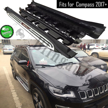 Fits for Jeep Compass 2017-2020 2Pcs left right running board side steps nerf bar car pedal side stairs