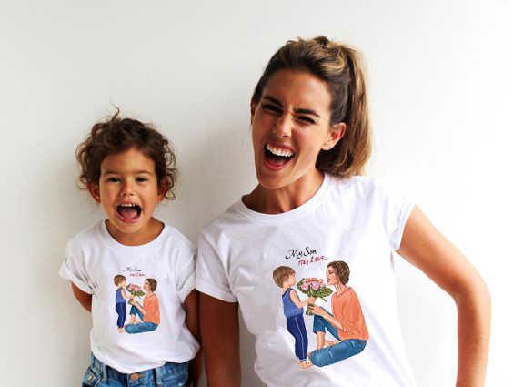 เด็กการจับคู่ชุดเสื้อยืดMommyและMe Tเสื้อพ่อและBoy Tee Super Mom Daugher Son Tshirtกราฟิก 90S Vogue Tee