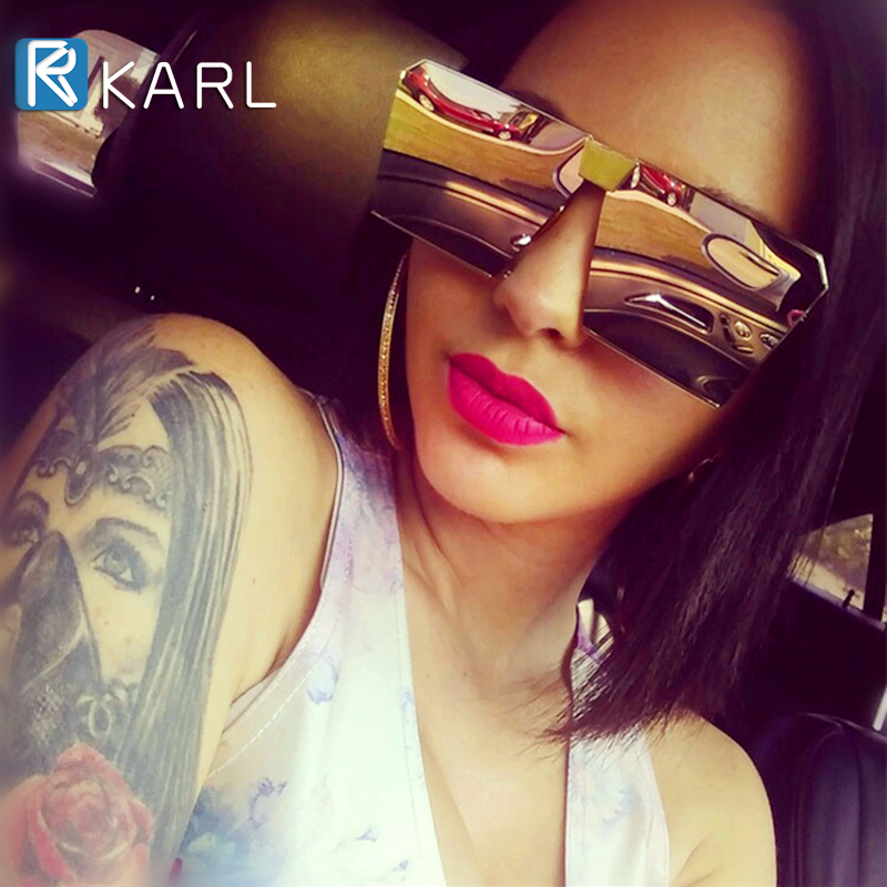 Men Polarized Sunglasses Oversized Square Women Flat Top Fashion Lens Siamese Shades Color Coating Mirror