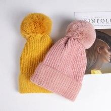Новинка года; женская шапка; зимняя Лыжная шапка с меховым шариком; теплые уличные головные уборы для отдыха; модная шапочка в виде диких бобов
