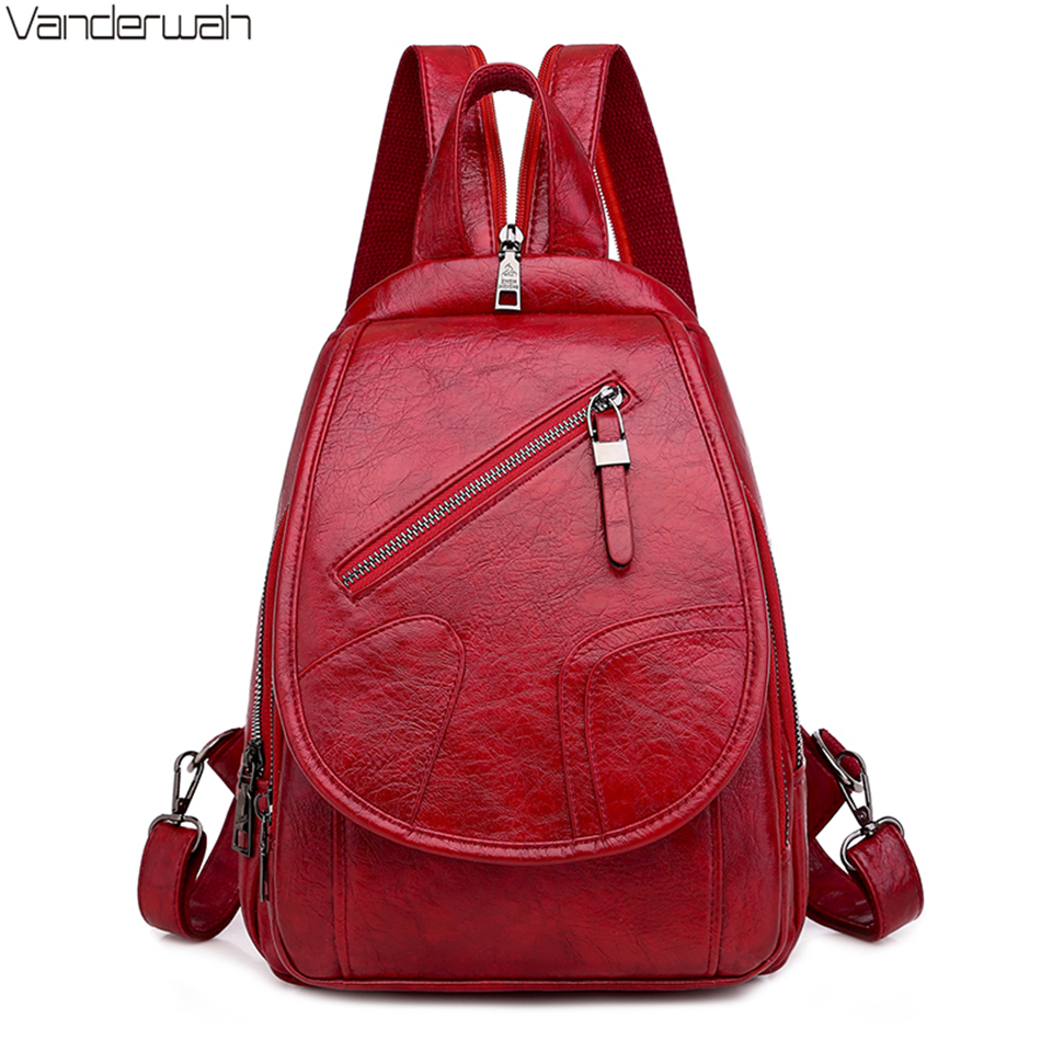 Multifunction Ladies Small Backpacks High Quality PU Leather Girls Bagpack Simple Travel Bags For Women 2020 Mochila Feminina