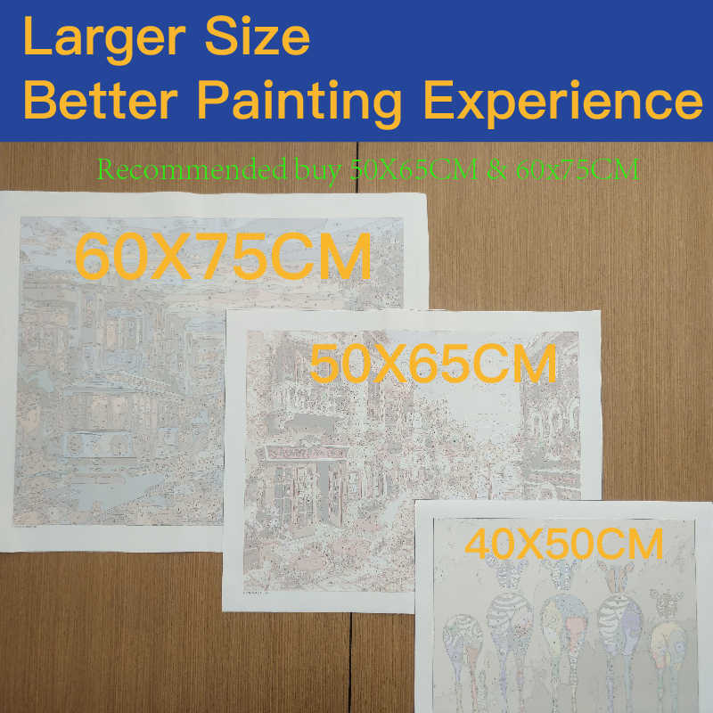 Malowanie numerami DIY wysyłka rowerów krajobraz na płótnie pościel pokój dekoracji obraz rysunek akrylowe sztuka dekoracyjna 40x50cm