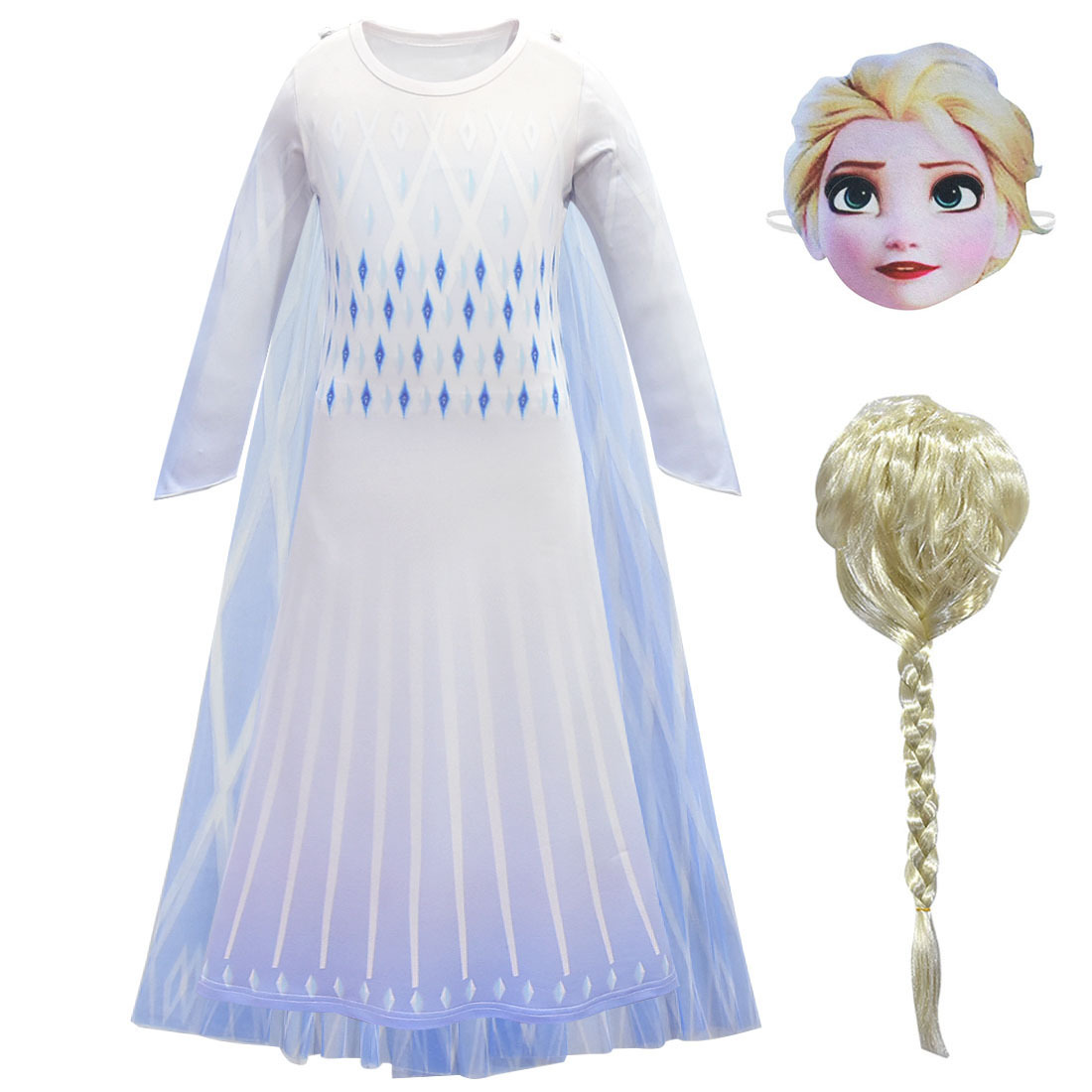 Lovely Girls Aisha Princess Dress Cosplay Costume Christmas Party Stage Show Kid Clothing Crown Magic Stick Prop C65K37