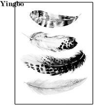 Feather black and white 5d Diy diamond painting full picture square round drill embroidery rhinestone