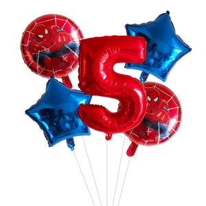 5pcs Aerostati della Stagnola Spiderman 1 2 3 4 5 6 7st Super Hero Decorazioni della Festa di Compleanno 30 pollici Rosso blu Numero Palloncino Star Giocattoli Per Bambini(China)