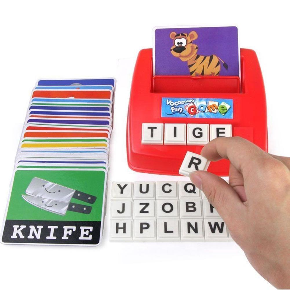 Animal Fruit Card English Words Spelling Board Game Children Educational Toy Literacy Fun Early Learning Toys