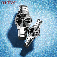 Top Brand Couple Watches Quartz Week Date Tungten Steel Waterproof Wristwatch For Lovers Luxury Luminous Men Women Watch
