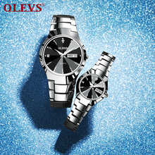 Top Brand Couple Watches Quartz Week Date Tungten Steel Wate
