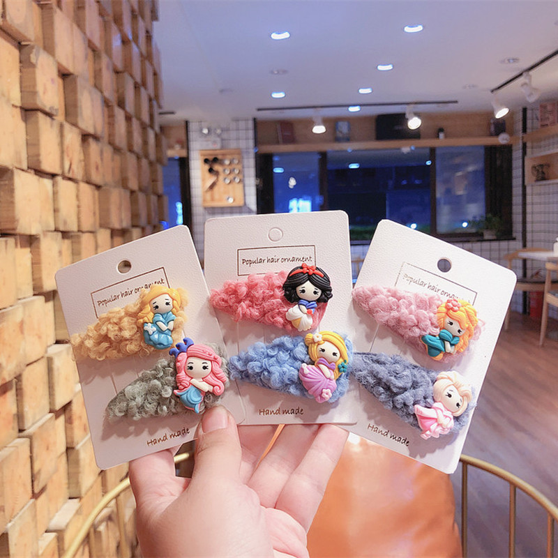 Autumn And Winter New Korean Cute Children's Cartoon Little Princess Hairpins Girl Beautiful Colorful Lambswool BB Clip Headwear