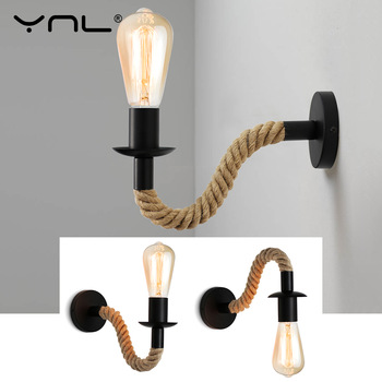 Retro Hemp Rope Industrial Loft Wall Lamp Vintage Decor Wall Light Fixtures For Living Room Indoor Sconces Lighting Decorative rope wall lamps vintage industrial wall lighting cafe bar aisle sconces bedroom lamp indoor home lighting fixtures edison lights