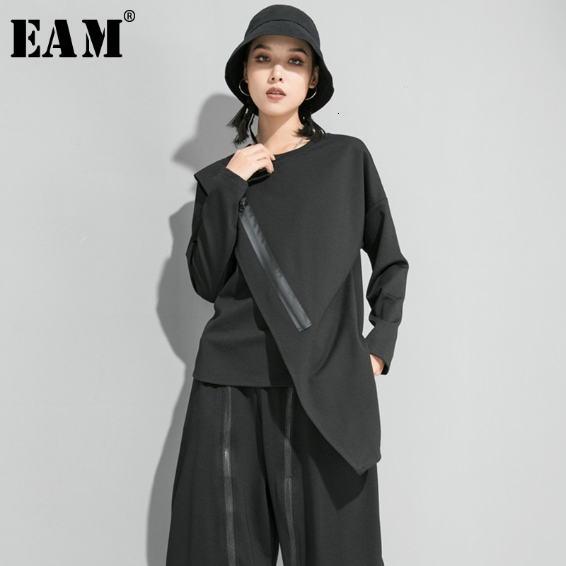[EAM] Loose Fit Black Zipper Asymmetrical Sweatshirt New Round Neck Long Sleeve Women Big Size Fashion Autumn Winter 2019 1D686