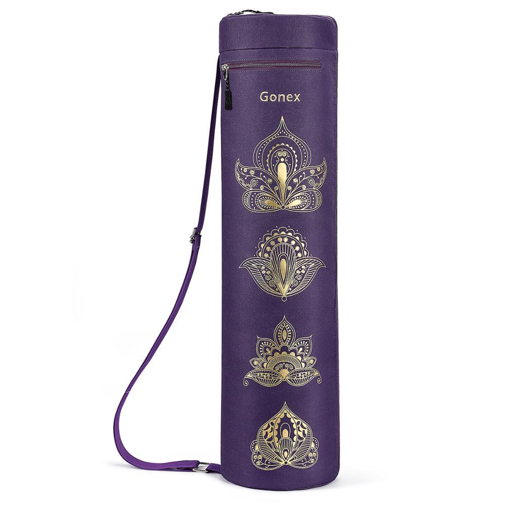 Bolsa de esterilla de Yoga Gonex, bolsa de gimnasio con cremallera completa tela Oxford resistente al agua con 2 bolsillos, correa de hombro ajustable