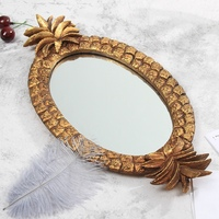 New Resin Jewelry Plate Pineapple Design Retro Resin Decoration Fruit Jewelry Cosmetics Storage Finishing Tray Mirror Tray