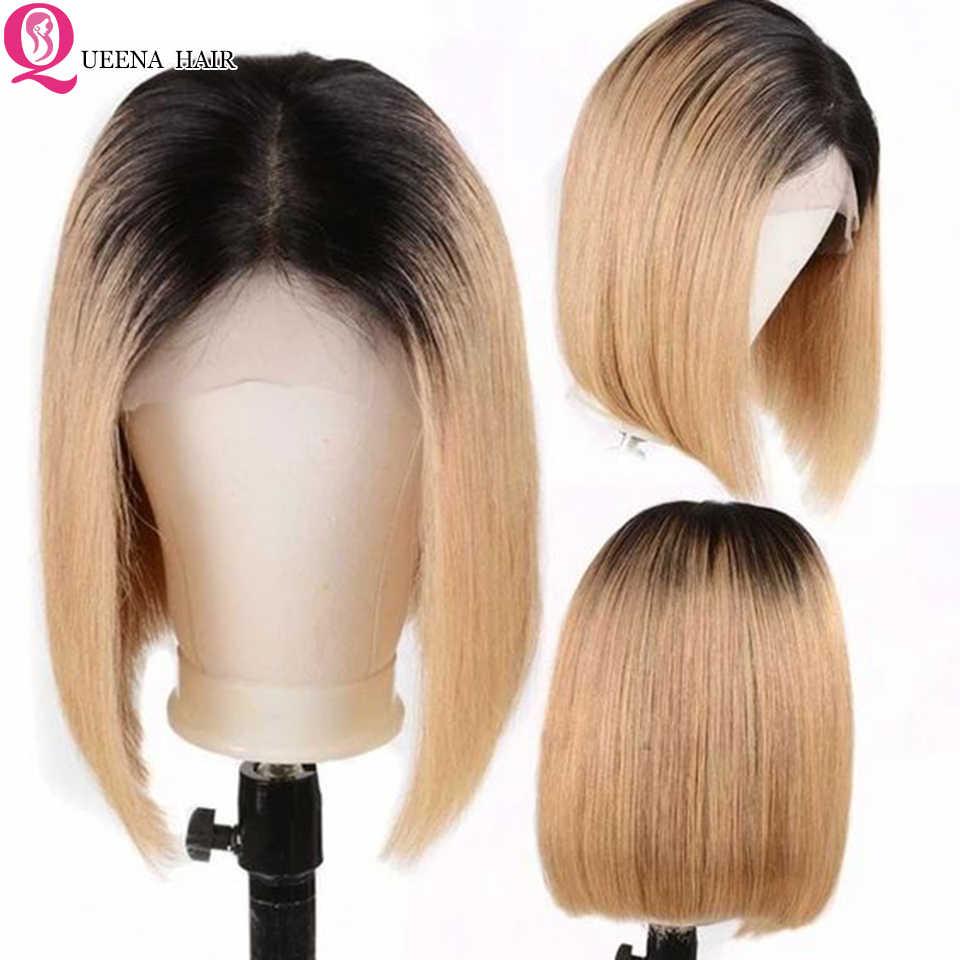 Gerade Kurze Bob Perücke 99J 613 1B/30 Blonde Ombre 4x4 Spitze Schließung Menschliches Haar Perücken Für schwarz Frauen Remy 180% Peruanische Spitze Perücke