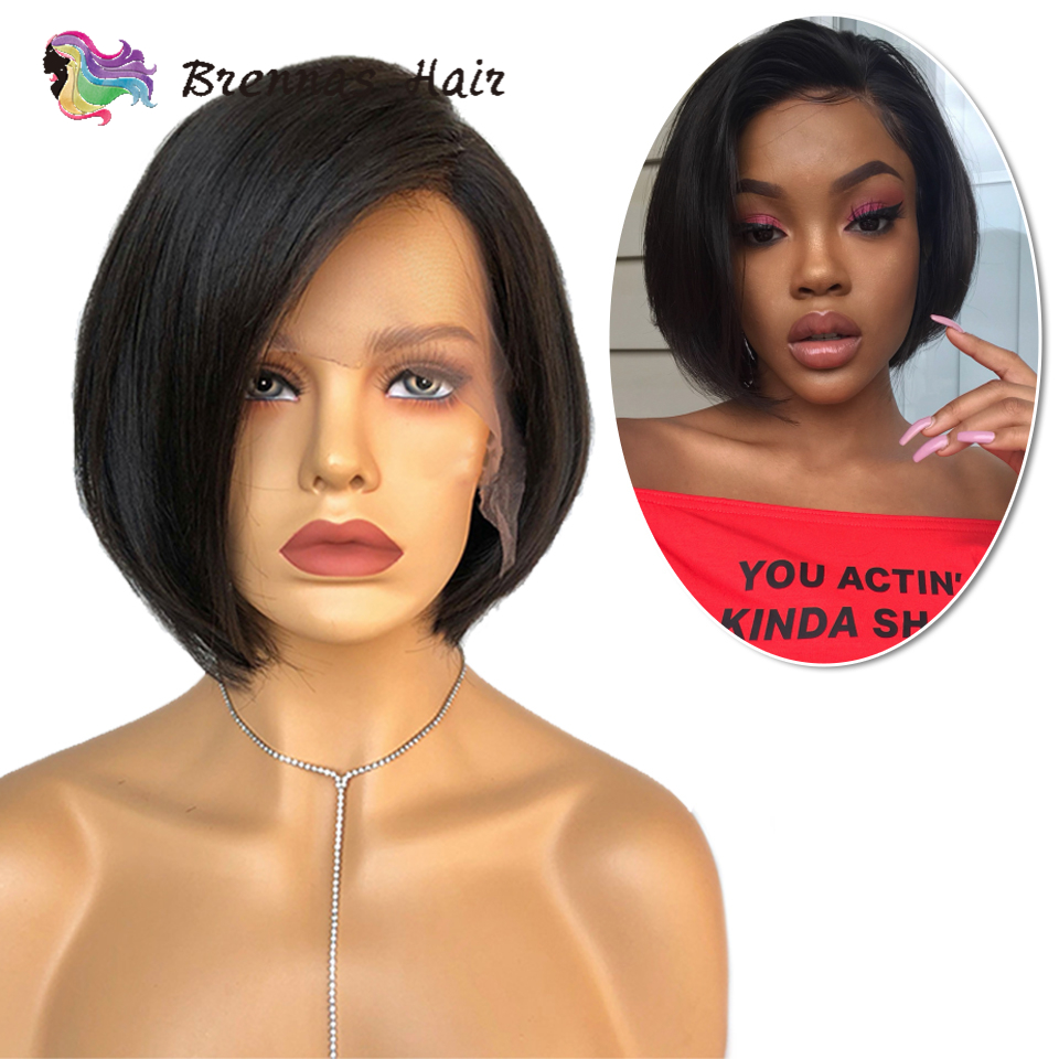 Brazilian Human Hair Wig Straight Short Bob Lace Front Wig Side Part Lace Wig Preplucked Bleached Knots Non-Remy Hair For Women