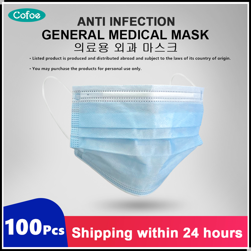 Cofoe 100pcs Medical Mask Disposable Face Mask 3 Layer Surgical Mask Covid 19 Test Influenza Bacterial Medical Face Masks Mouth