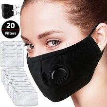 Filtro de Carbón Activado Filtración eficiente Pm2.5 Anti Haze Máscaras bucales con 20 filtros