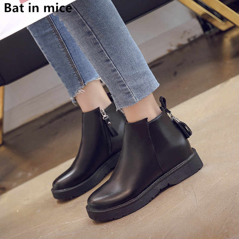 Women Winter snow Boots Women Causal flats Ankle Boots Platform shoes pu Leather Woman zipper Martin boots Booties shoes T339