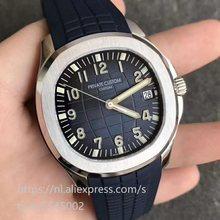 Erkek saati paslanmaz çelik kasa otomatik mekanik safir siyah kadranlı saat erkek tarihi su geçirmez
