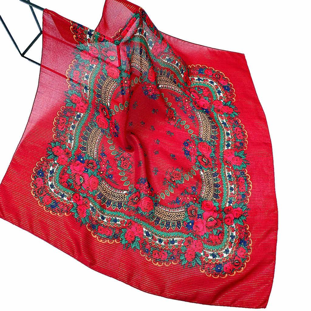สไตล์ชาติพันธุ์ขนาดใหญ่ Hijab ผ้าพันคอผู้หญิงมุสลิมดอกไม้พิมพ์พื้นบ้านที่กำหนดเองสแควร์ผ้าพันคอผ้าพันคอ 70 ซม.X 70 ซม.ผ้าคลุมไหล่เดินทางผ้าพันคอ