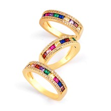 Cz Rainbow Ring Band Zirconia Ladies Pave Colored Gold Baguette Rings for Women Gold Jewellery Righ(China)