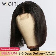 Wigirl 150 de densidad bob peluca Remy 2x6 de cierre de encaje pelucas de cabello humano pre arrancado corto recto pelucas para mujeres negras