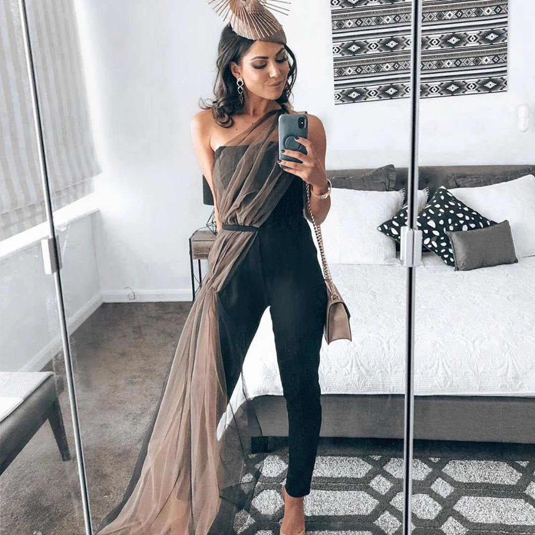 CIEMIILI sexy solid black mesh strapless woman bandage jumpsuit 2021 new fashion halter party skinny nightclub bodycon jumpsuit