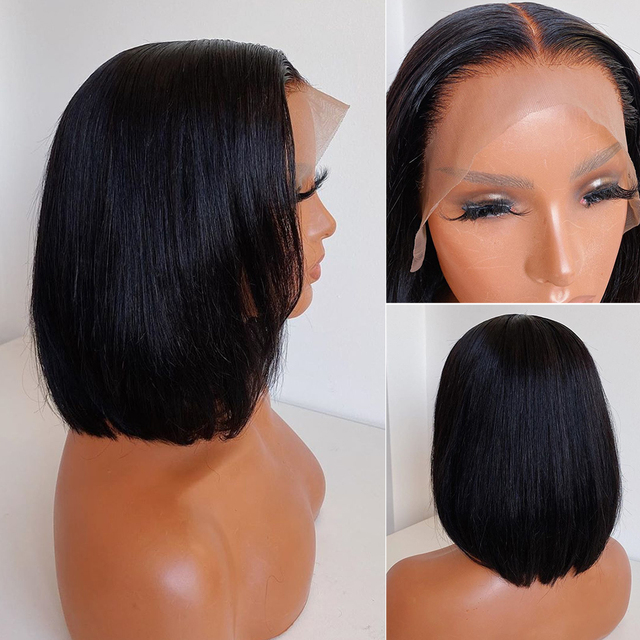 Short Lace Front Human Hair Wigs Brazilian Straight Bob 13×4 Lace Frontal Wig Pre Plucked Baby Hair 150 180 Density Remy Hair
