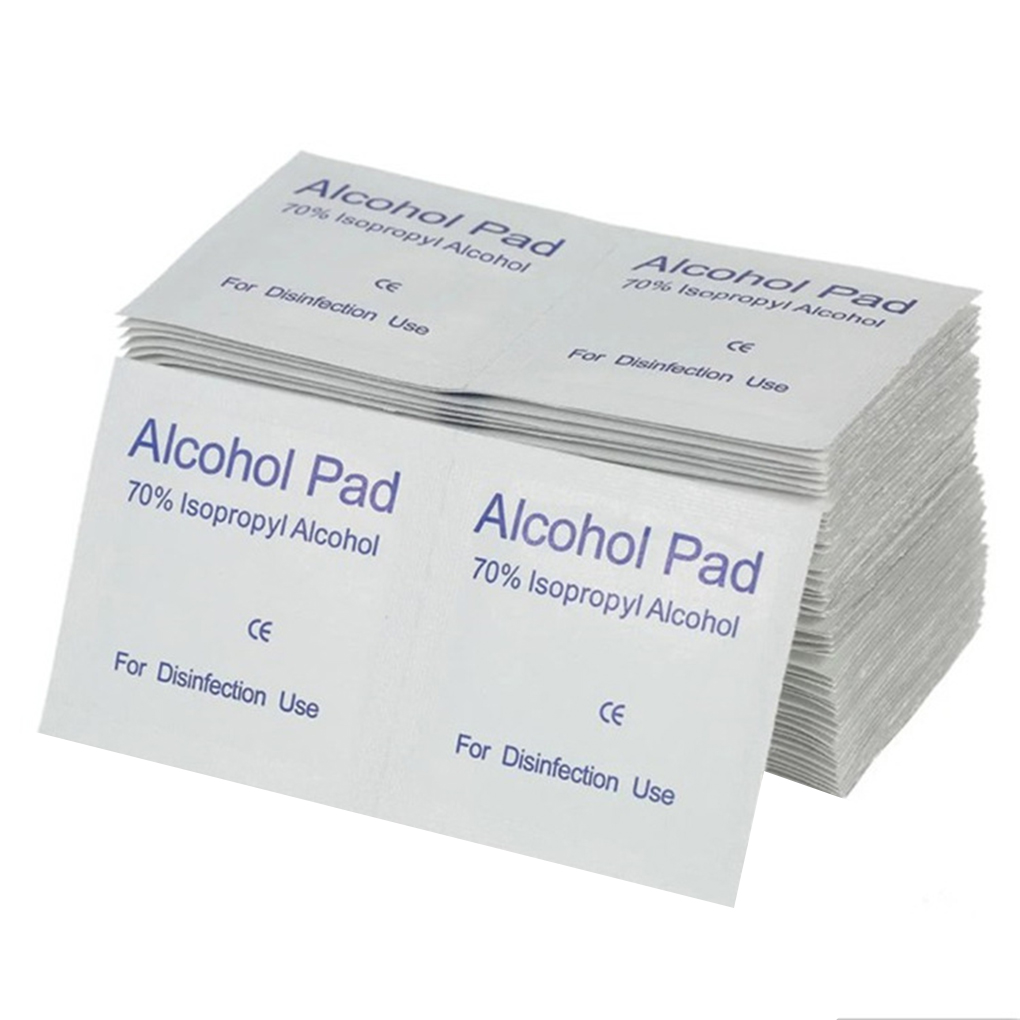 100Pcs Alcohol Wipe Pad Skin Cleaning Care Non-woven Fabric Wipes Wide-use Disposable Disinfection Cotton Wipes Tablets