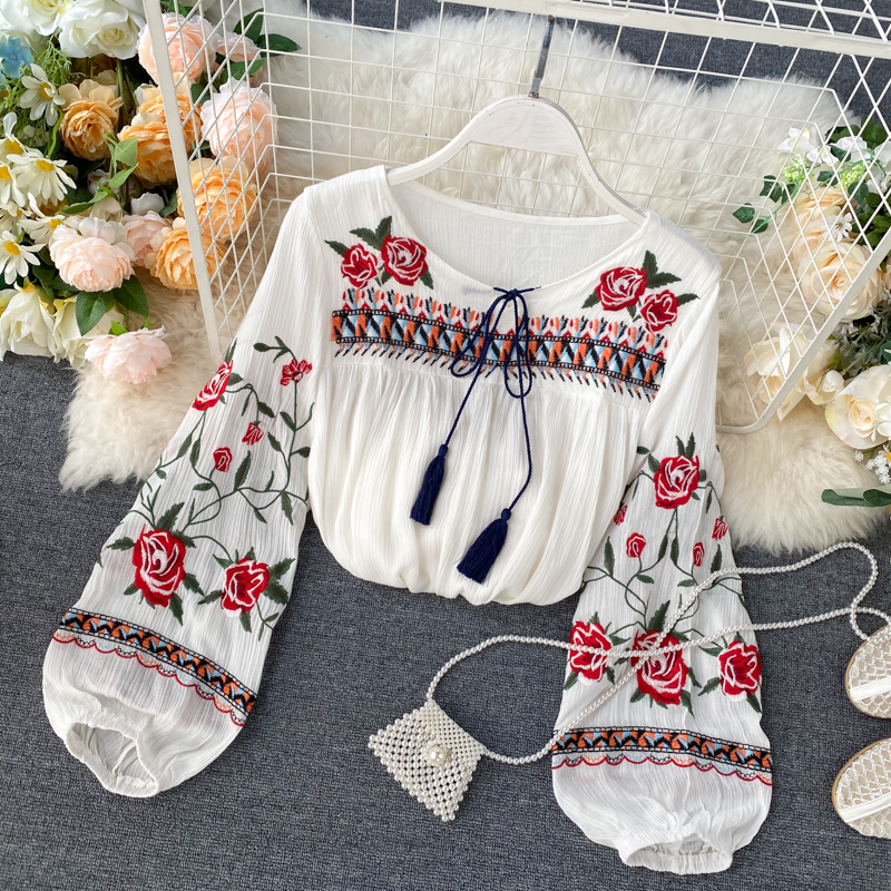 2020 Spring Indie Folk Women Blouse Fashion Embroidery Flowers Lace-up Shirt Ladies Casual Loose Pullover Leisure Shirt Fashion