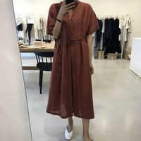 Kobiety lato długa sukienka koszulowa z dekoltem w serek Maxi Vestidos ze sznurkiem czerwony dorywczo luźne szlafrok plus size Femme Sukienki Damskie Jurken