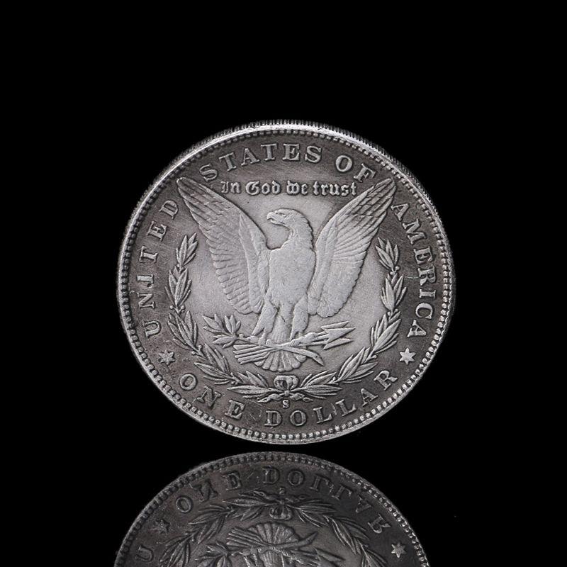 New 1888 Steel Morgan Dollar Magic Tricks Props Commemorative Coin Collection Q6PD
