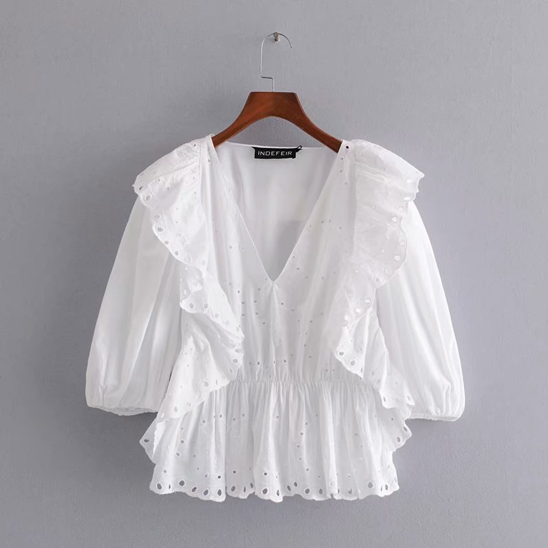 Vintage Hollow Out Embroidery Top White Cotton Tops And Blouses Women Summer Sexy V-neck Shirts