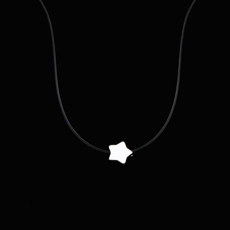 5 modèles perle lune alliage strass réglable Invisible chaîne Transparent ligne de pêche cristal coeur 1PC tour de cou colliers
