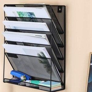 Image 3 - شبكة معدنية الحائط مجلة رف ملفات مكتب عمل 5 طبقة الفاصل الزمني ملف مجلة مجلة دفتر تخزين أسود
