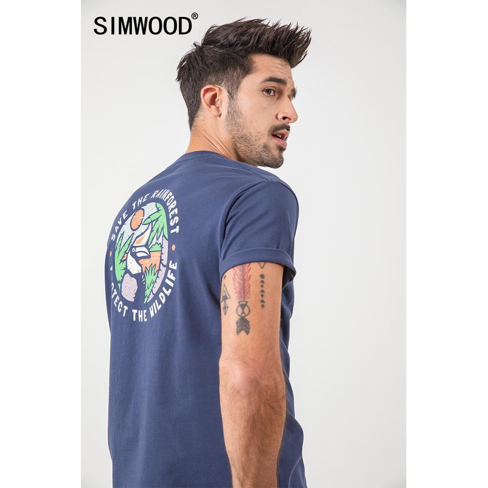 SIMWOOD 2020 Summer New Pattern Print T-shirt Men 100% cotton fashion tees plus size brand clothing SJ150494