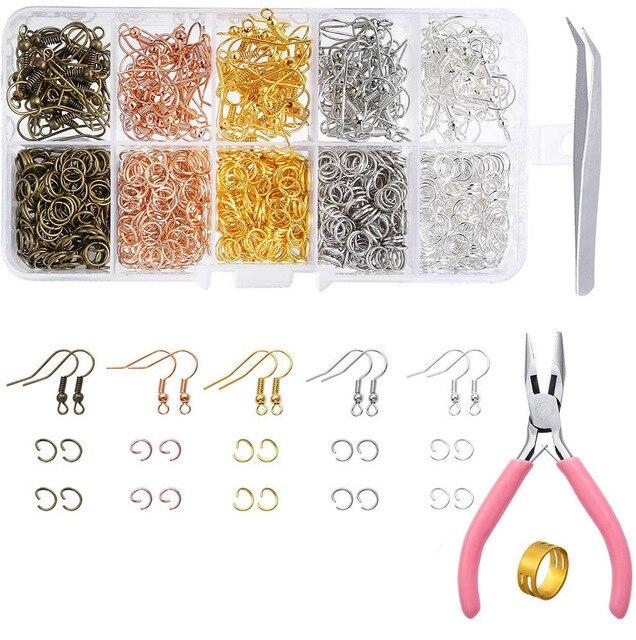 Kit de joyería para pendientes Diy, conjunto de herramientas de joyería, anillo de hierro individual/cierre de langosta/Cadena de cola/accesorios para pendientes para fabricación de joyas