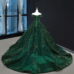 Image 4 - Gorgeous Sequin Evening Dress Long Off The Shoulder Emerald Green Women Formal Pageant Prom Gowns